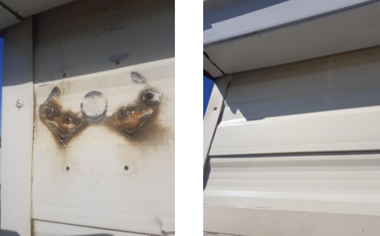before and after pictures of a caravan panel fix