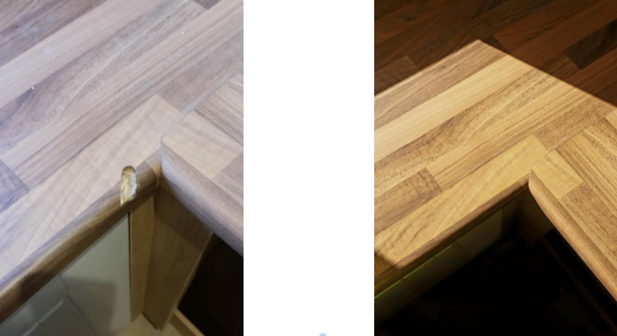 before and after photos of a worktop repair